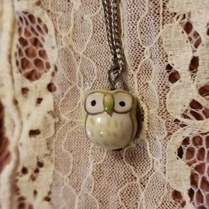 Small Green Owl Ceramic Bead Pendant Necklace